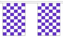 PURPLE AND WHITE CHECKERED BUNTING - 9 METRES 30 FLAGS